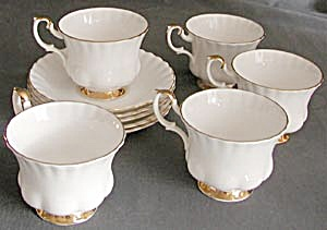 Royal Albert White & Gold Cup & Saucers