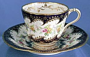 Vintage Cobalt Floral Cup & Saucer (Image1)