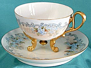 Vintage Hand Painted/Signed Forget Me Not Cup & Saucer (Image1)