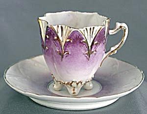 Vintage Violet & White Cup & Saucer (Image1)