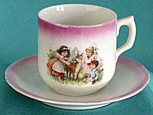 Antique Children With Deer Cup And Saucer