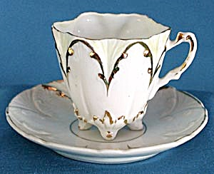 Antique White And Gold Flower Cup And Saucer