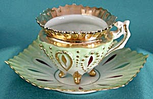 Vintage Fancy Green & White Cup & Saucers