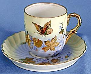 Antique Porzellanmanufaktur Tettau Butterfly Cup/Saucer (Image1)