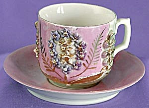 Antique German Luster Cup Amp Saucer With Raised Flowers