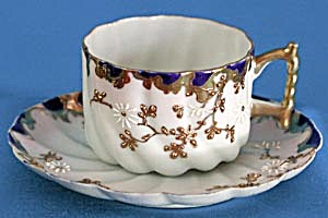Antique Cup & Saucer With Raised Gold Flowers