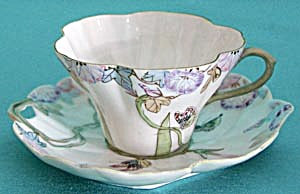 Art Nouveau Butterfly And Flower Cup & Saucer