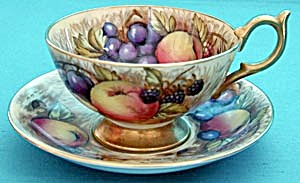 Vintage Aynsley Hand Painted Signed Fruit Cup & Saucer
