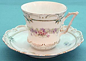 Vintage White With Flower Garland Cup & Saucer