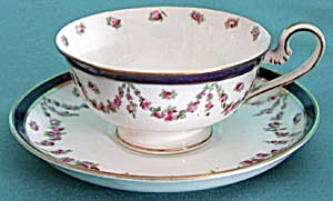 Vintage White with Rose Garland Cup & Saucer (Image1)