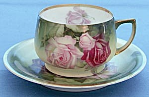Vintage Large Painted Roses Cup & Saucer