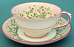 Crown Staffordshire Pink Daisy Cup & Saucer