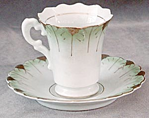 Occupied Japan Green & White Cup & Saucer (Image1)