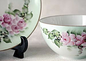 Vintage Hand Painted & Signed Rose Cup & Saucer
