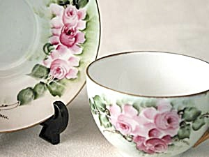 Hand Painted & Signed Rose Cluster Cup & Saucer