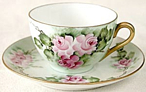 Hand Painted & Signed Climbing Pink Rose Cup & Saucer