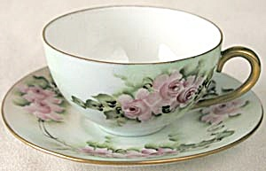 German Hand Painted & Signed Pink Rose Cup & Saucer