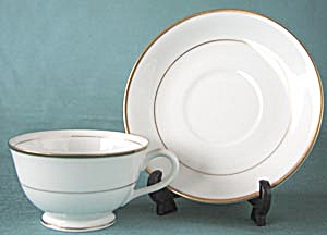 Vintage White & Gold Cup & Saucers