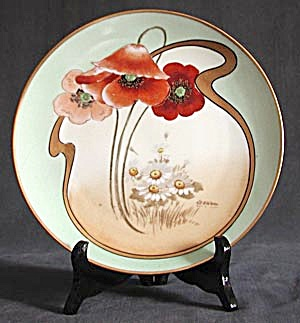 Art Nouveau Hand Painted & Signed Poppy Plate (Image1)