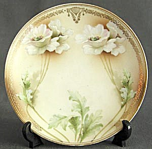 Vintage Art Nouveau Hand Painted White Poppy Plate