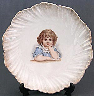 Antique Child Resting Their Head on Their Hand Plate (Image1)