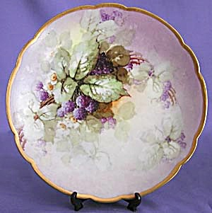 Limoges Large Painted & Signed Plate Of Blackberries