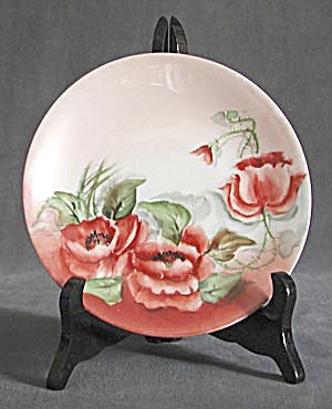 Antique Limoges Poppy Hand Painted & Signed Plate (Image1)