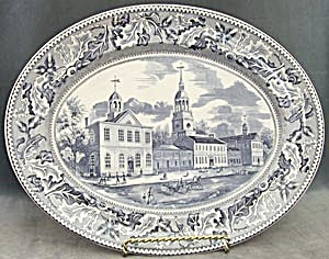 Vintage Blue Johnson Brothers Historic America Platter (Image1)
