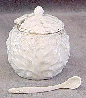 Vintage German Cabbage Leaf Mustard Pot with Spoon (Image1)