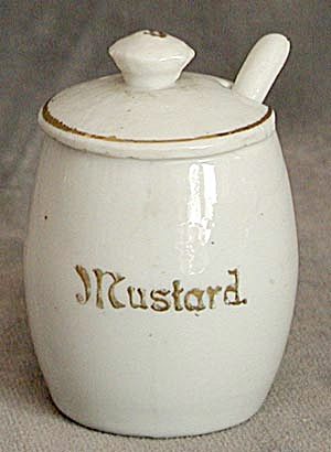 Antique White and Gold Mustard Pot (Image1)