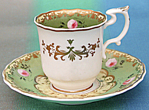 Antique Spode Wide Green Cup And Saucer