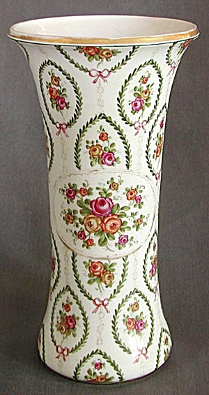 Large China Vase With Roses, Bows & Laurel Wreaths