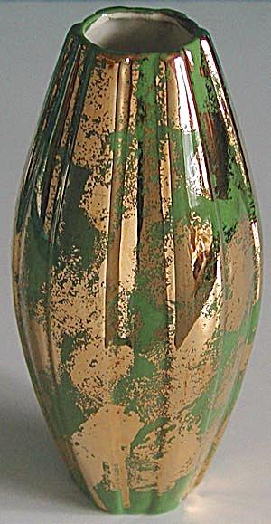 Vintage Gold & Green Vase (Image1)