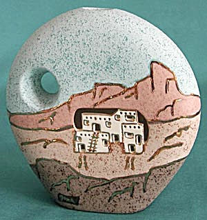 Pottery Vase With Cut Out Cave Dwellings