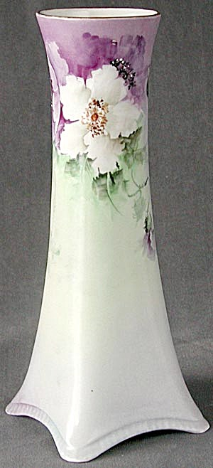 Antique Tall Porcelain Hand Painted/signed Flower Vase