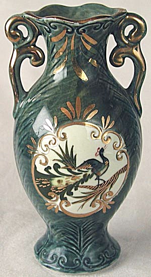 Vintage Double Handle Peacock Vase (Image1)