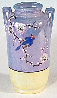 Vintage Hand Painted Blue Lusterware Bird Vase