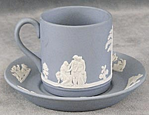 Vintage Wedgwood Blue & White Cup & Saucer (Image1)