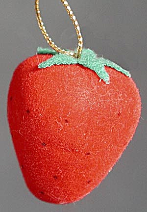 Vintage Flocked Strawberry Christmas Ornament Set of 2 (Image1)