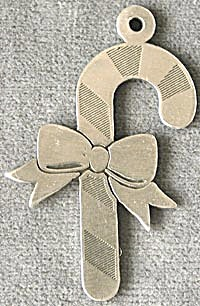 Pewter Candy Cane Christmas Ornament