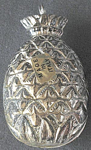 Vintage Silver Tone Pineapple Christmas Ornament