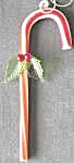 Vintage Glass Candy Cane With Holly Ornament
