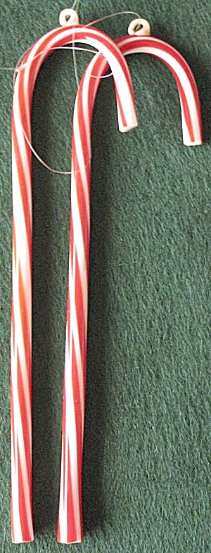 Vintage Red & White Glass Candy Cane Ornaments