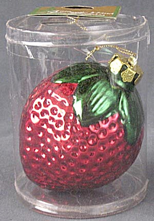 Vintage Large Glass Strawberry Christmas Ornament