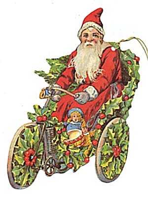 Cardboard Santa on Bike Christmas Ornaments Set of 10 (Image1)