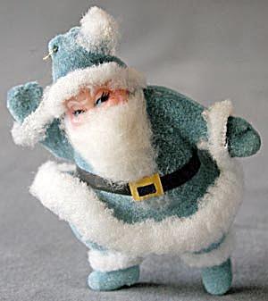 Vintage Aqua Santa Christmas Ornament (Image1)
