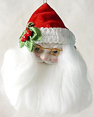 Porcelain Faced Santa Head Christmas Ornament (Image1)