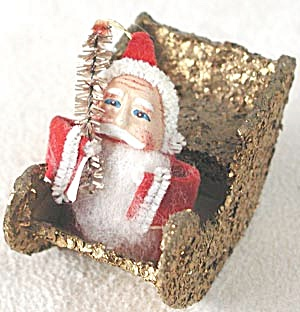 Vintage Santa / Sleigh Bottle Brush Christmas Ornament (Image1)
