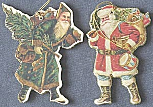 Pair of Santa Cardboard Christmas Ornaments (Image1)