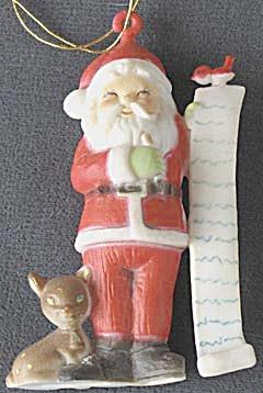 Vintage Plastic Santa Christmas Ornament (Image1)